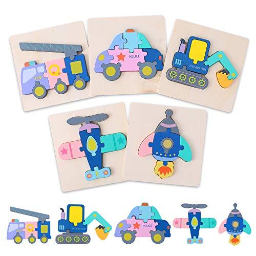 Ulikey 6 Pezzi Puzzle in Legno per i Bambini, 3D Giocattoli Montessori Animale da Puzzle a Forma, Educativo Giocattoli Giochi Regalo per 1 2 3 Anni Bambini Ragazzi Ragazze (Trasporto)