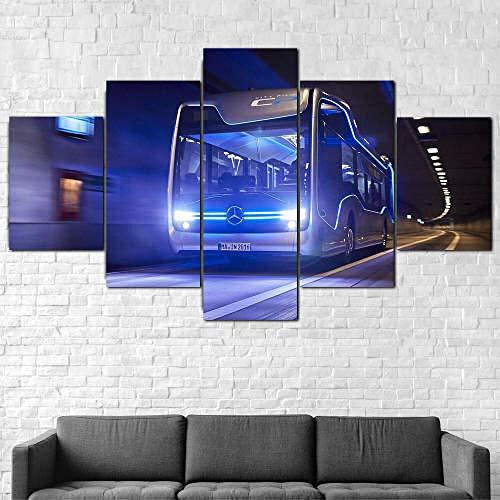 IMXBTQA Impresión En Lienzo 5 Piezas Cuadro sobre Lienzo,5 Piezas Cuadro En Lienzo,5 Piezas Lienzo Decorativo,5 Piezas Lienzo Pintura Mural,Regalo,Decoración Hogareña Merced Ben Bus Buses Viajes