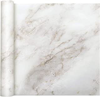 Homein Marble Paper White Self Adhesive Decorative Granite Vinyl Film Furniture Counter Stick Waterproof Removable Peel and Stick Wallpaper Thick Roll for Countertop Cabinet Bathroom 17.5 x 78.7 inch