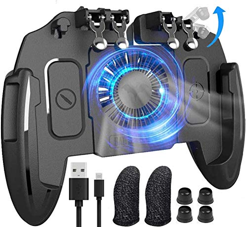 "Mobile Game Controller with Cooling Fan/Phone Holder/Finger Sleeves for PUBG/Fortnite/Call of Duty, Tomoda L1R1 Mobile Triggers for 4.7""-6.5"" iOS Android Phones"