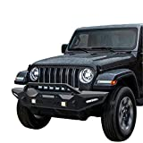 oEdRo Front Bumper Compatible for 87-06 Jeep Wrangler TJ & YJ Rock Crawler Bumper with Winch Plate Mounting & 4X LED Lights & 2X D-Rings Off Road