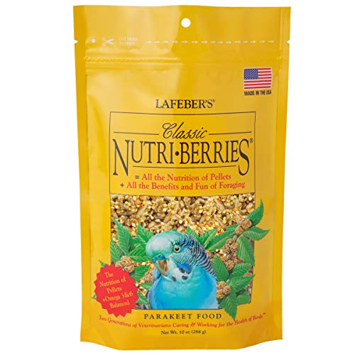 Price comparison product image LAFEBER'S Classic Nutri-Berries Pet Bird Food,  Made with Non-GMO and Human-Grade Ingredients,  for Parakeets (Budgies),  10 oz