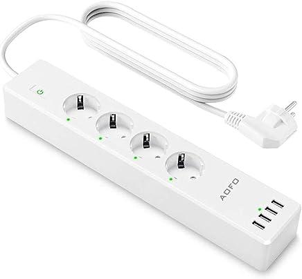4/Puertos USB TEEPAO WiFi REGLETA el/éctrica con 4/Toma Schuko 4.9ft Surge Protector Interruptor App Control Remoto Smart WiFi Plug con Arias Google Home Assistant 1.5/m