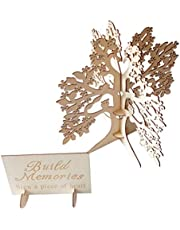 Boda Libro de árbol Alternativa, Madera 3D árbol de los Deseos con los Corazones, artesanías de Madera de Bricolaje para la Ceremonia de la Boda Libro de Visitas