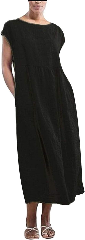 Selomore Women's Solid Sleeveless O-Neck Maxi Pockets Linen Loose Baggy Kaftan Long Dress,0518US4