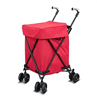 ZXAZBHD Shopping Trolley,Handcart Shopping Mobility Trolley Multi-Functional Foldable Portable Shopping Cart with Oxford Bag Maximum Load 25kg Home,Outdoors (Color : Red)
