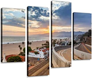Sunset View from California Incline Canvas Wall Art Hanging Paintings Modern Artwork Abstract Picture Prints Home Decoration Gift Unique Designed Framed 4 Panel