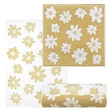 Lashuma Juego de 4 trapos de cocina, diseño de flores, 2 unidades, 50 x 50 y 2 paños de cocina de 50 x 70 cm, color amarillo