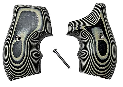 Premium Gun Grips Compatible Replacement for S&W Grey Black G10 Low Profile Half Wrap J Frame Grips