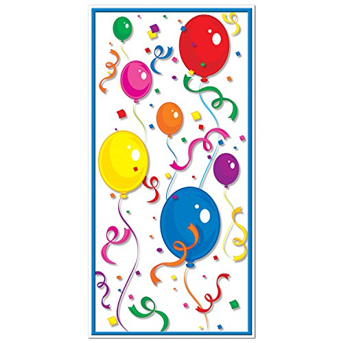 Beistle Balloons and Confetti Plastic Door Cover-1 pc, Multicolored