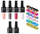 Store2508 Combo of UV Gel Nail Polish 4 Bottles & Top Coat Base Coat Nail Buffers (Set A)