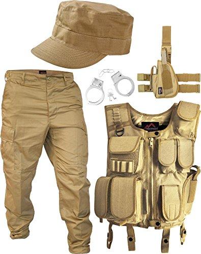 normani SWAT Kostüm Coyote bestehend aus Weste, Hose, Pistolenholster, Cap und Handschellen Größe XXL