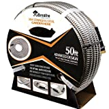 """Flex-Steel Garden Hose (50ft): 304 Stainless Steel with Premium Brass Connectors, Wider 5/8"""" Diameter for Optimal Water Pressure - Ultra Durable, Lightweight, Flexible, Kink-Free, and UV Resistant"""