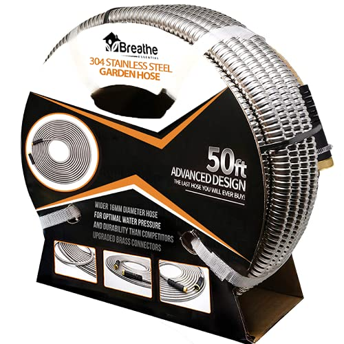 Flex-Steel Garden Hose (50ft): 304 Stainless Steel with Premium Brass Connectors, Wider 5/8' Diameter for Optimal Water Pressure - Ultra Durable, Lightweight, Flexible, Kink-Free, and UV Resistant
