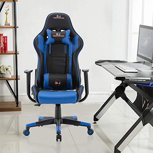 Gharpbik Gaming Stuhl Racing Bürostuhl Schreibtischstehl Drehstuhl Sportsitz Chefsessel (Blau)