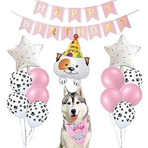 ETLEE Dog Anniversaire Party Supplies Bandana pour Chien avec Ballons imprimés Pattes et bannière Happy Birthday – Ensemble de décoration et Costume d'anniversaire pour Chien