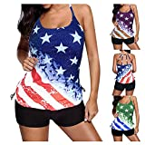 4th-of-July, American Flag Print, Swimsuits for Women Bikini Two Piece Swimsuit Cute Bathing Suits Beach Swimwear Push Up Halter Best Swimsuits