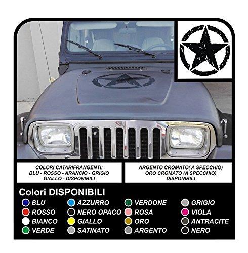 GRAFIC Autocollant ÉTOILES Militaire consommé 50 cm pour SUV 4x4 Offroad étoile égratignure gratter rayer (Blanc)