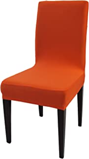 Orange Spandex Stretch Dining Chair Covers - 4 PCS Knit Removable Washable Party Chair Slipcovers (Orange, 4)