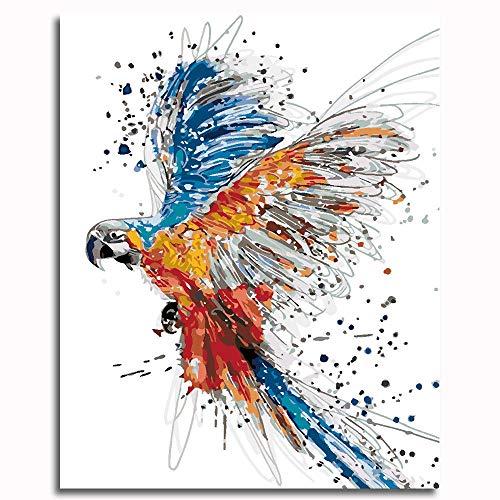 LGBCK Malen nach Zahlen für Erwachsene und Kinder DIY Ölgemälde Geschenk-Kits Vorgedruckte Leinwand Kunst - Papagei (40x50cm)