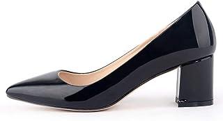 12色 大きいサイズ パンプス エナメル 太ヒール ポインテッドトゥ 結婚式 就活 冠婚葬祭 歩きやすい 履きやすい 痛くない 走れる ブラック レッド ホワイト