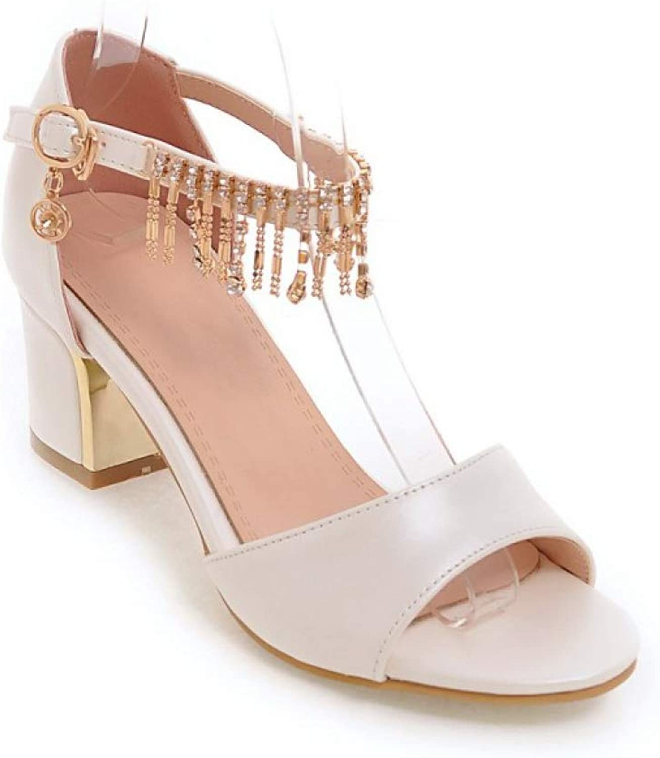 T-JULY Summer Women's High Pumps Ankle Strap Ladies Sandals Pink bluee String Bead Girl's Wedding shoes