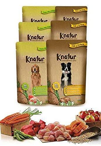 Alimento Natural casero para Perros, húmedo con Carne Fresca y Verduras Frescas - 90% Carne Knatur (6x600gr) (Cordero y Pollo)