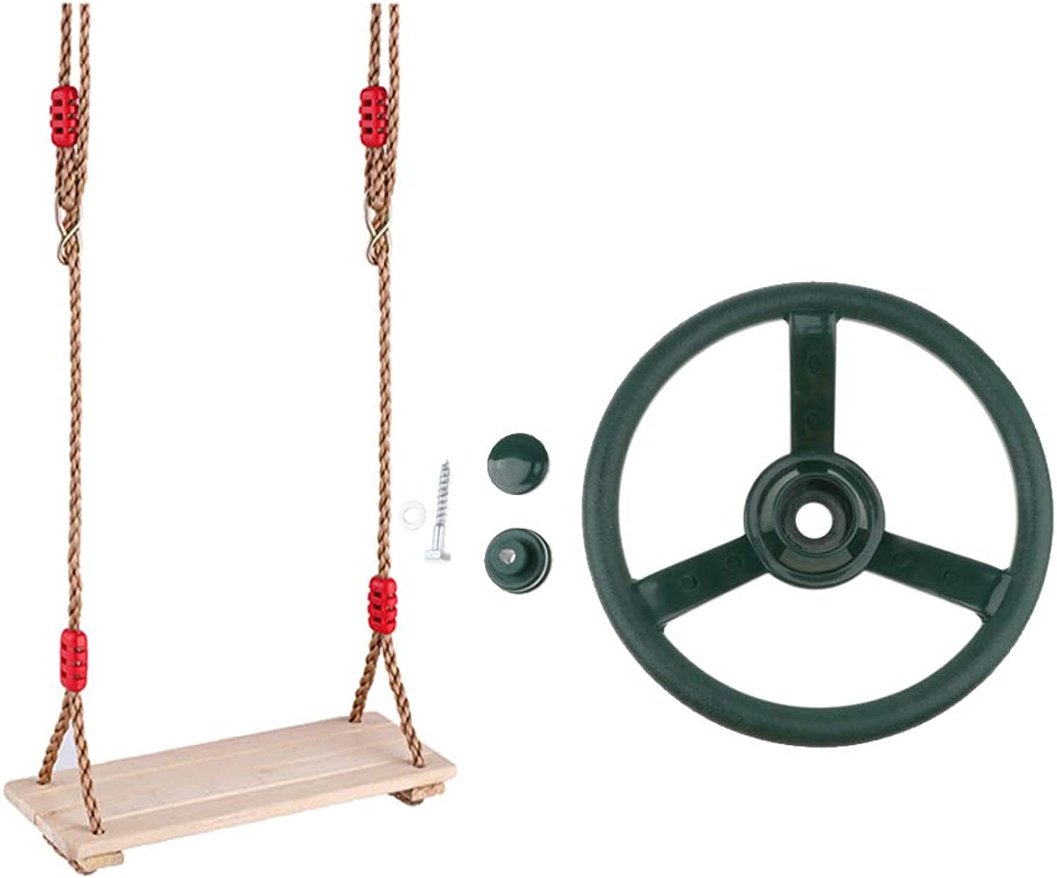 Baoblaze Kids Backyard Playground Toy Steering Wheel + Wooden Swing Seat Tree House Climbing Frame Kids Park Game Toy