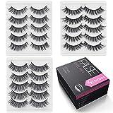 Natural Fake Eyelashes Set - 3D Cross False Eyelashes Pack 15 Pairs 3 Styles Reuseable Eyelashes BTArtbox Soft Wispies Eyes Lashes Pack, J-01