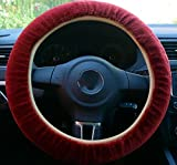 yuekuantai- Red 38cm Warmly Furry Steering Wheel Covers for Women/Girls/Ladies Fit Fiat