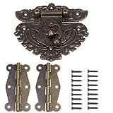84mm astina per scrocco in rilievo bronzo antico (per lucchetto) con cerniere in ottone da 50 mm e viti per armadietto in legno per armadietto decorativo