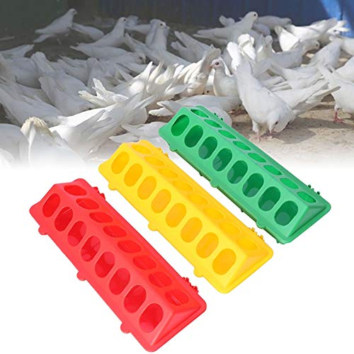 WSERE 3 Pack Plastic Flip Top Bird Small Poultry Feeder for Pigeon Quails Ducklings Birds, Green Red Yellow No Mess No Waste Multihole Birds Feeding Dish Dispenser Chick Feeder