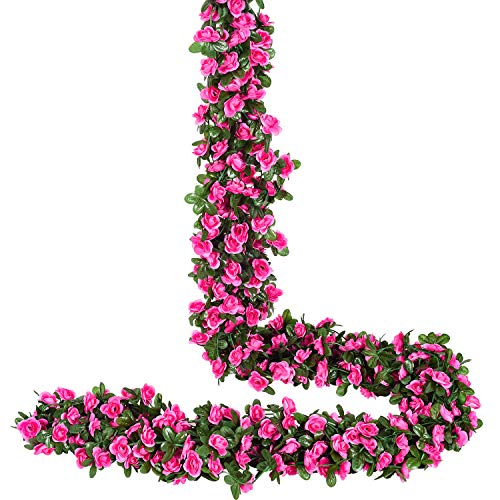 YQing 4 Piezas Artificiales Rosas Flores Guirnalda, 250cm Rosas Falsas Artificial Flor Rosa Vid Planta con Hojas de Hiedra Verde para la decoración del jardín del Banquete de Boda (Rojo)