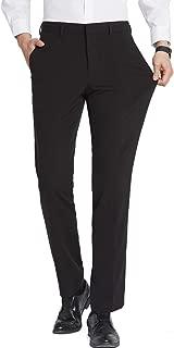 FLY HAWK Mens Dress Pants, Stretch Slim Fit Wrinkle Free Flat Front Suit Pants Slacks