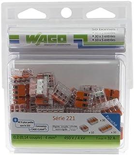 Wago WAG221/PAN50 Pack de 50 Bornes de connexion universelle tous conducteurs Type 221/2-3-5 entrées