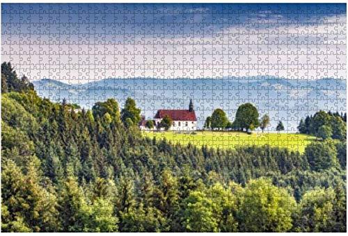 Rompecabezas de paisaje montañoso escénico con una antigua iglesia en el bosque negro para niños y adultos, juego educativo, juguetes, bricolaje, 500 piezas 52 * 38 cm