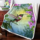 Comfort Her Zon Sherpa Fleece Throw Blanket 39 x 49 Inches Spring Hummingbird Bird Flower Fuzzy Soft Flannel Blanket Reversible Ultra Luxurious Plush Blanket for Bed Couch Sofa- Pink Floral Animal