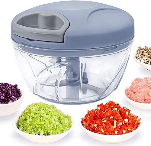 520 ml Handzerkleinerer manuelle Küchenmaschine, Zugschnur zum Schneiden von Gemüse, Zwiebeln, Knoblauch, Nüssen, Tomaten, Fleisch in Sekunden, gebogene Edelstahlklingen