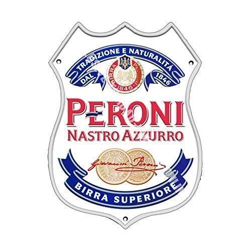 Peroni Etiquette Nastro Azzurro. Bière brune bière publicité Barre Ancienne Bar Pub Boissons Pump Badge Brewery Tonneau Keg Tirant Real Ale Pinte Alcool Houblon Forme Métal/Panneau Mural Métalique