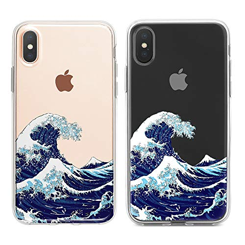 uCOLOR Ocean Clear Case Compatible with iPhone Xs/X iPhone 10 Case (5.8') Japanese Waves Slim Hard PC Back TPU Bumper Crystal Clear Protective Case for iPhone Xs/X