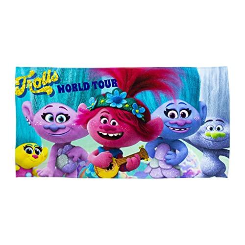 Toalla Oficial Trolls | Toalla de Baile Rosa y Morado, Tacto Super Suave, 100% algodón, hogar, Playa y Piscina, Color Azul 140 x 70 cm