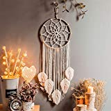 Nicole Knupfer Tapiz de pared con atrapasueños de macramé, hecho a mano, estilo bohemio, decoración de 90 x 30 cm