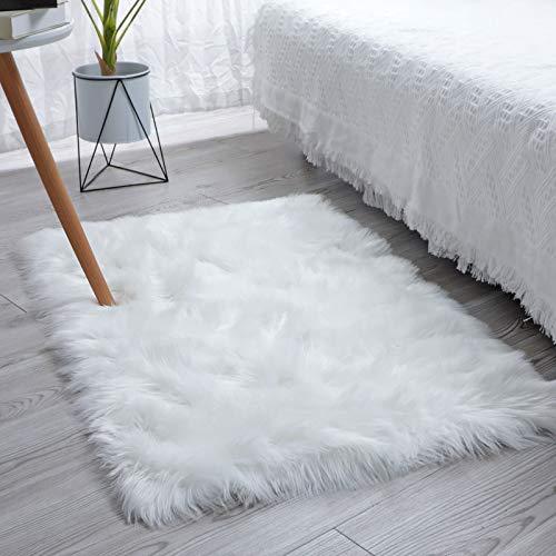 SXYHKJ Tapis en Peau de Mouton synthétique,Cozy Sensation comme véritable Laine Tapis en Fourrure synthétique, Man Made Luxe Laine Tapis de Canapé Coussin (Rectangle 75x120CM, Blanc)
