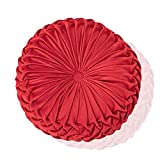 Boyigog Cojín decorativo para el hogar, 38 cm, redondo, cojín de terciopelo con diseño de calabaza, hecho a mano, plisado para el hogar, sofá, silla, cama, decoración del coche (rojo)