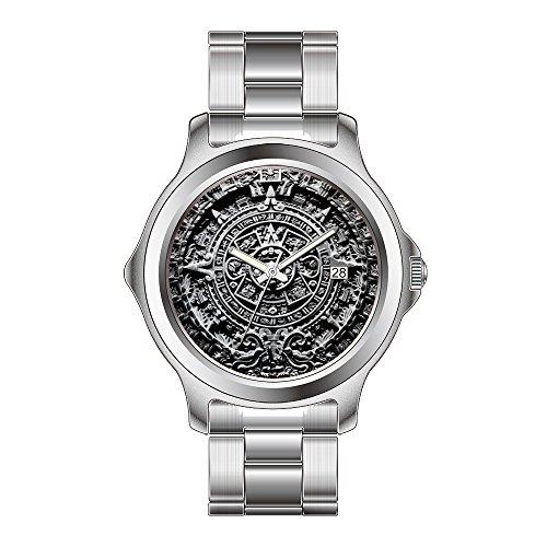 FDC–Navidad Regalo Relojes Hombre Fashion Fecha de Cuarzo japonés Reloj de Pulsera de Acero Inoxidable–Calendario Azteca Sunstone Reloj