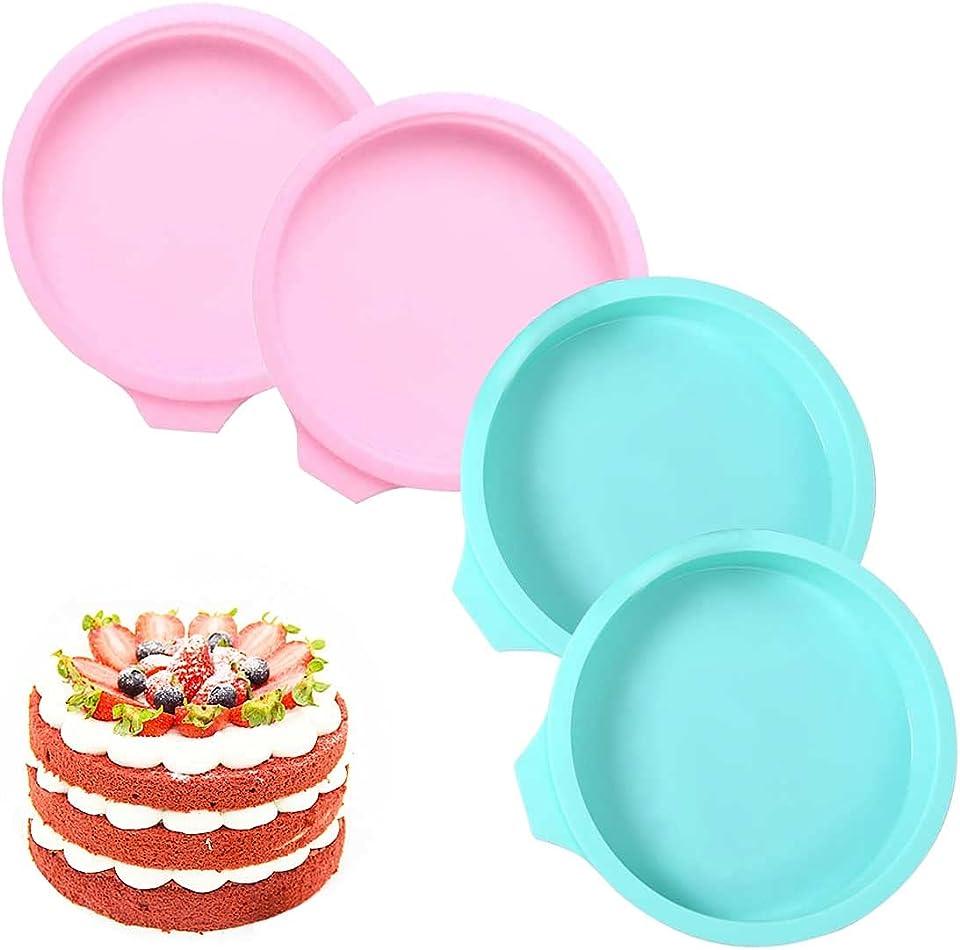 4 Stück Schichtkuchenform, 8 zoll Regenbogenkuchen Backform, Kuchenform Silikon Rund Backen Silikonformen Auslaufsicher Schichtkuchen-Backform Antihaftbeschichtet Backformen ( Rosa&Grün)