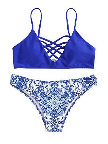 SweatyRocks Women's Adjustable Spaghetti Strap Porcelain Print Criss Cross Bikini Set Blue M