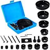 Hole Saw Kit 23PCS, EONLION 3/4 inches-5 inches Set in Case with Mandrels, Super Sharp Saw Blade, Install Plate and Hex Key for Sawing Holes in Normal Wood, Plywood, Drywall, PVC and Plastic Plate