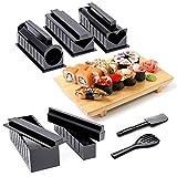 BigBigShop Kit completo para hacer sushi en casa, kit completo de 10 piezas con moldes de sushi y utensilios, moldes para hacer sushi