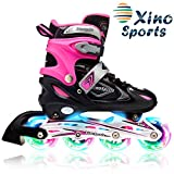 XinoSports Kids Inline Skates for Girls & Boys with Light Up Wheels (Ages 5-20) – Roller Skates with Illuminating Wheels – 1 Year Warranty, Life Time Customer Support (Black/Pink, Large - 5-8)